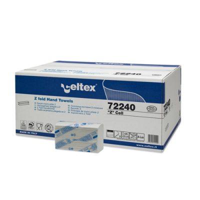 Celtex 72.240 Interfold hajtású kéztörlő, 2 rtg.,100% cell., 24×24, 25×150 (H2 rsz-rel kompatibilis) 1